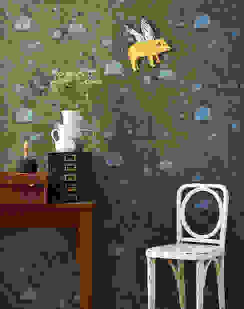 Woodlands Wallpaper Khaki Blue de Sian Zeng Rural