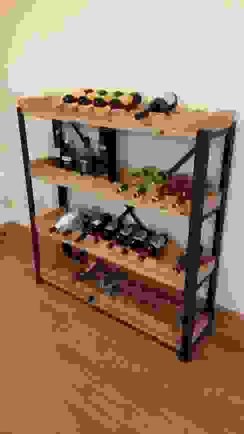 Steel and Oak shelving with removable wine racks od V I Metal Ltd Industrialny