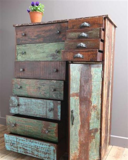 Large Recycled Wooden Chest of Drawers Vintage Archive المنزلمخزن
