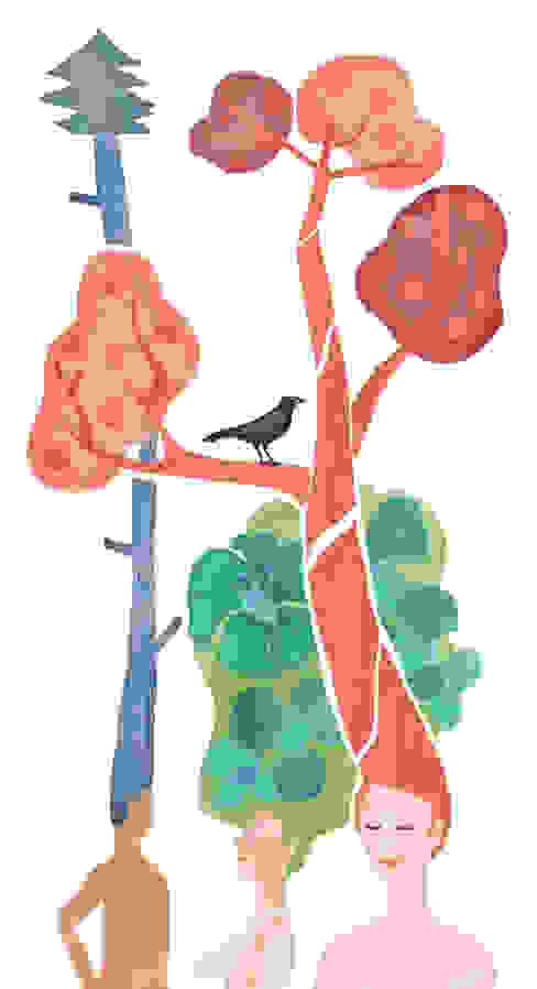 Raamillustratie 1: modern  door Agnes Loonstra - Nes is More, Modern