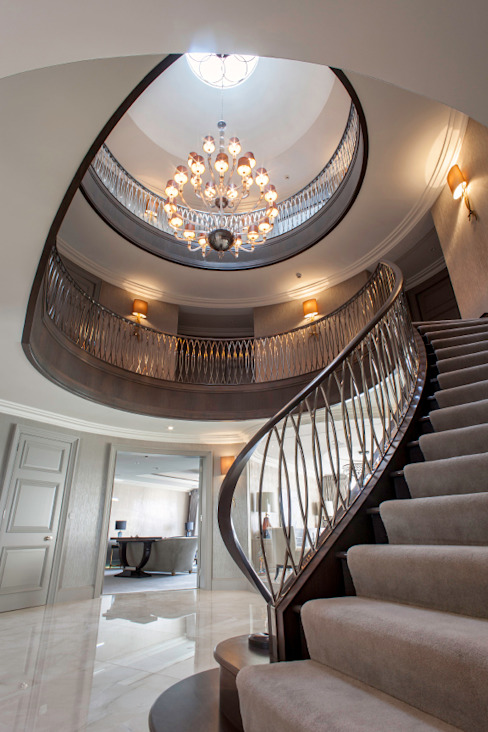 Luxurious family living homify Modern corridor, hallway & stairs