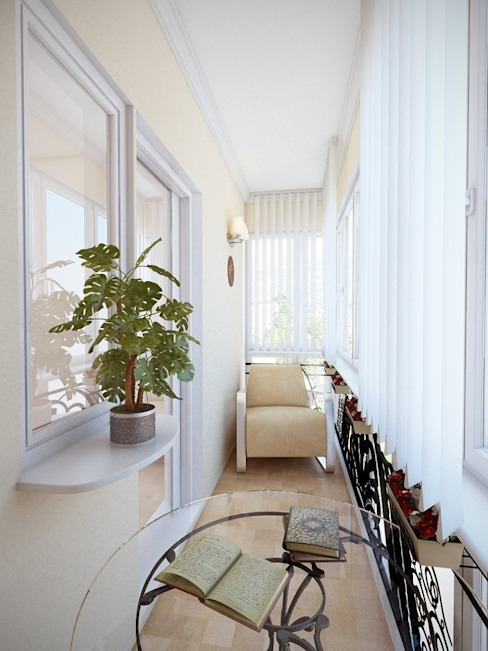 Modern balcony, veranda & terrace by Студия дизайна Elena-art Modern