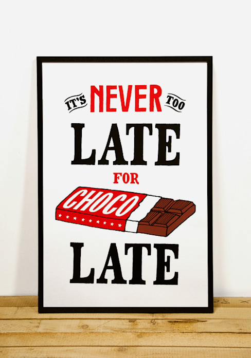 It's Never Too Late For Chocolate:   door Lennart Wolfert - Graphic Artist, Minimalistisch