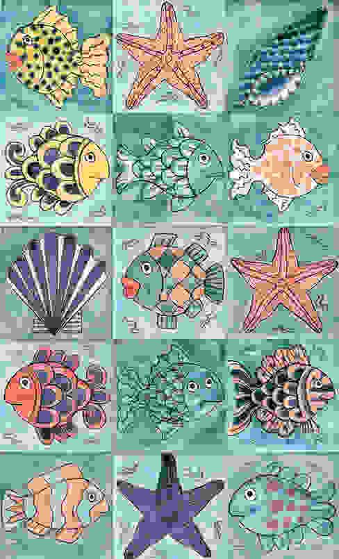 Fish and starfish tiles di Reptile tiles & ceramics Tropicale