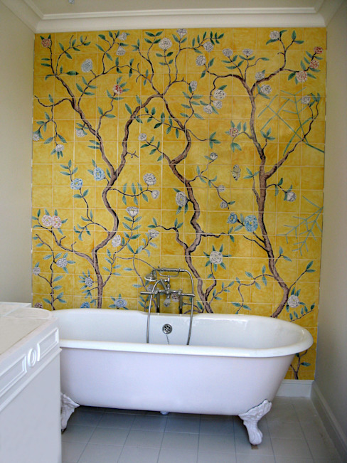 Chinese wallpaper tiles Asian style bathrooms by Reptile tiles & ceramics Asian