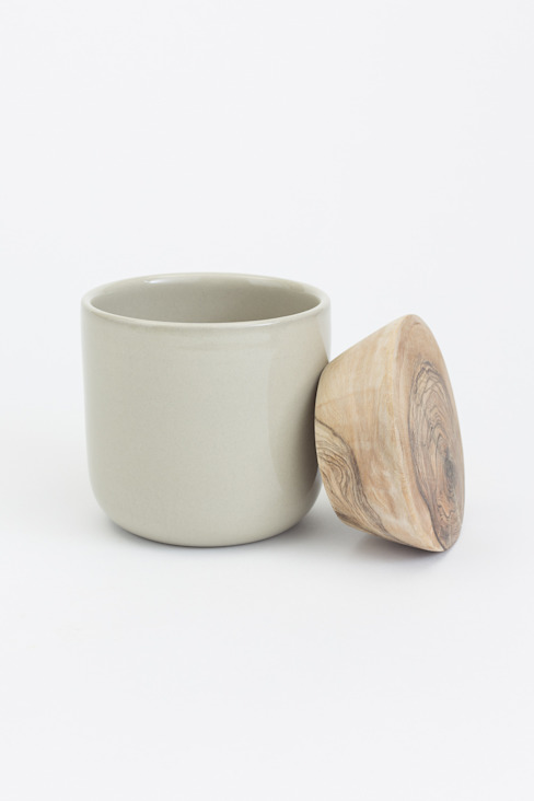 Storage Jar with Wooden Lid - Taupe od Oggetto Nowoczesny