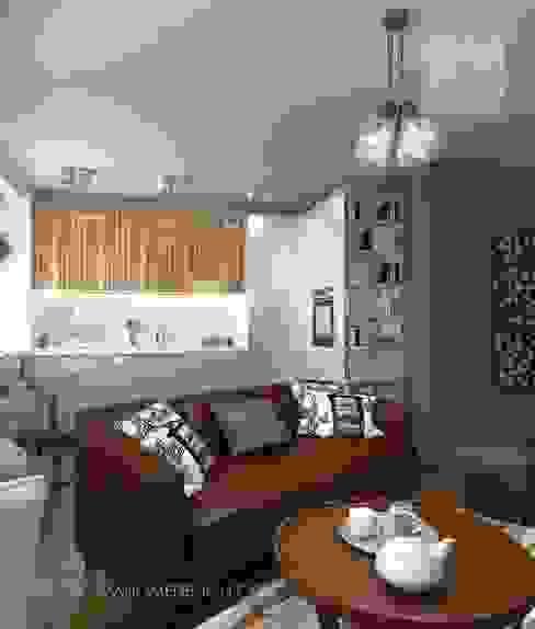 Квартира в Подмосковье 55 м² Гостиные в эклектичном стиле от Orlova Home Design Эклектичный