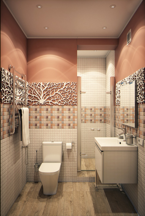 Calm,cute and colorful Marina Sarkisyan Ванная комната в эклектичном стиле