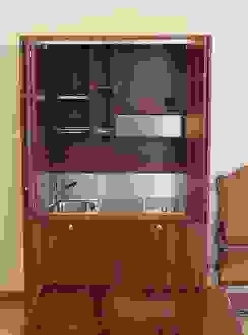 Monoblocco cucina da cm.125 con ante a libro - aperto di MiniCucine.com Minimalista