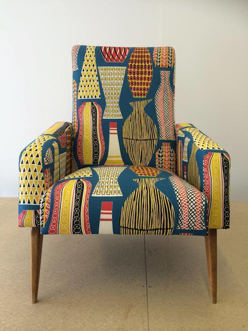 Pair of Mid Century French club chairs reupholstered in mustard wool and Sanderson Hayward fabrics Eclectic Chair Upholstery SalonCanapés & Fauteuils