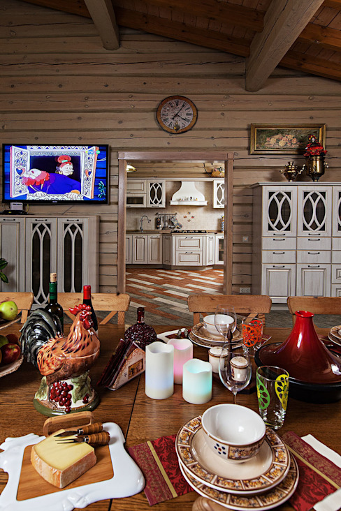 Rustic style dining room by Николай Карачев Rustic