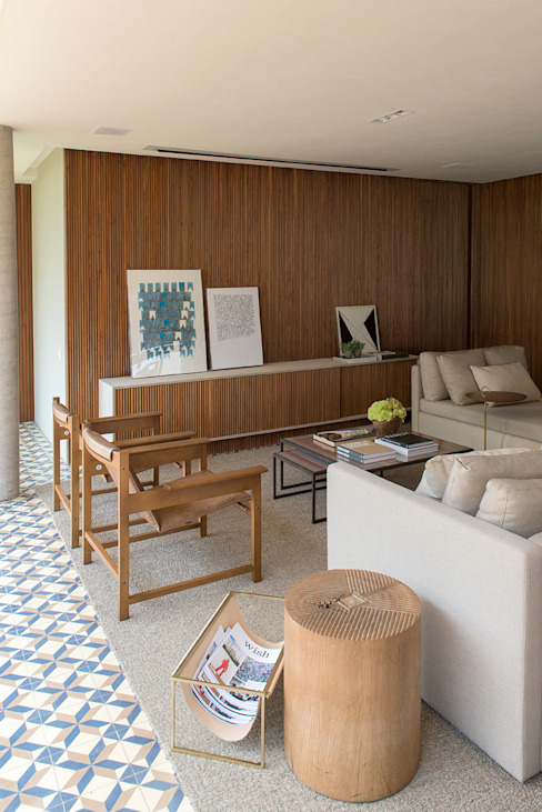 Triplex Arquitetura Country style living room