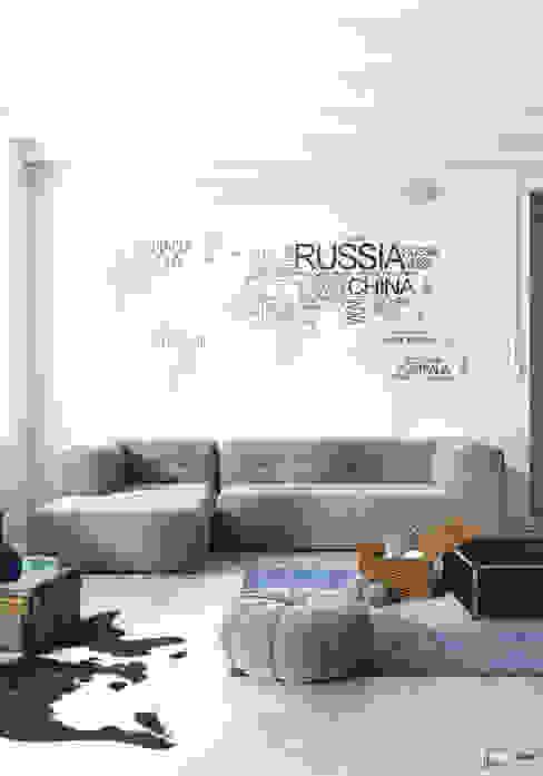 Na walizkach... Nowoczesny salon od Seryjny Projektant Nowoczesny