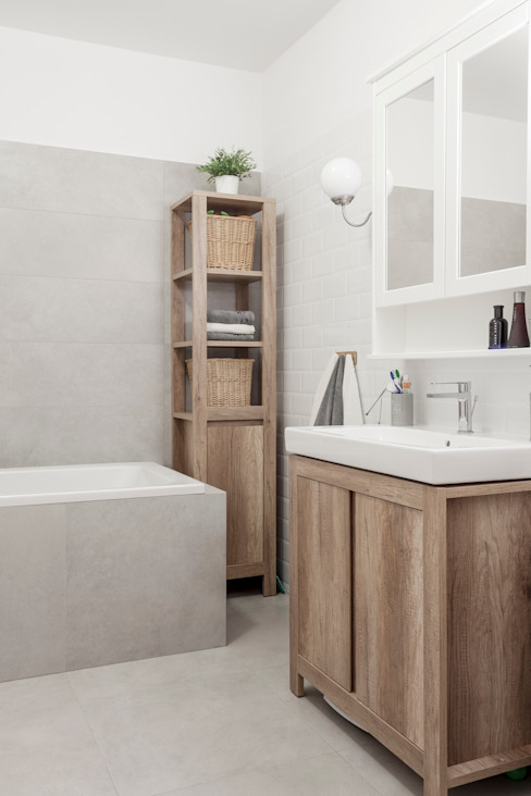 Łazienka Skandynawska łazienka od KODO projekty i realizacje wnętrz Skandynawski