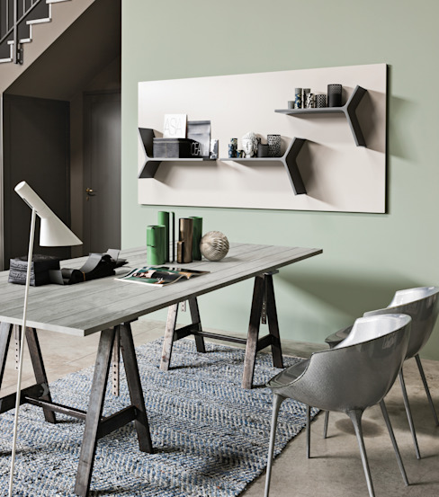 Magnetika system - magnetic shelves and metal panel par Ronda Design Moderne