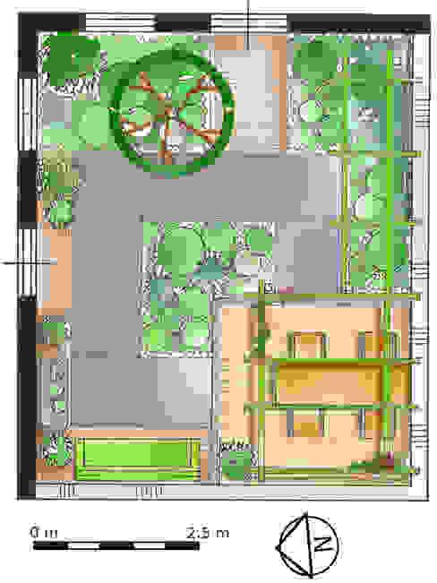 Mini patio tuin Wijk bij Duurstede: modern  door Dutch Quality Gardens, Mocking Hoveniers, Modern