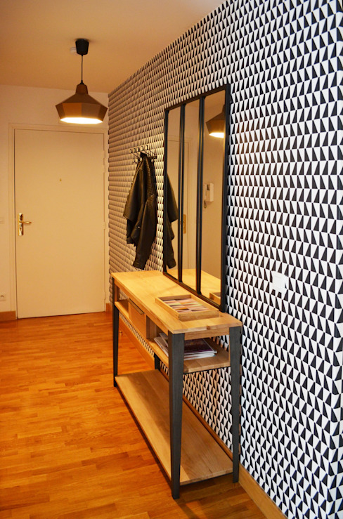 Appartement 60m² - Villejuif Couloir, entrée, escaliers scandinaves par Sandrine Carré Scandinave