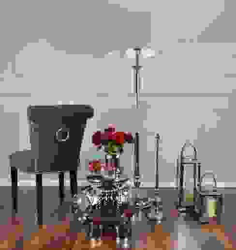 KONSOLA ŁAWA srebrna szklana stal nierdzewna CRISS CROSS : styl , w kategorii  zaprojektowany przez PRIMAVERA HOME,Nowoczesny