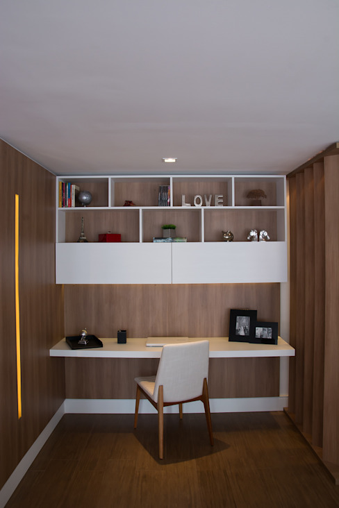 Lindoia Apartment ミニマルデザインの 書斎 の Bibiana Menegaz - Arquitetura de Atmosfera ミニマル