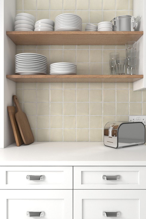 Artisan Ceramic Kitchen Tiles di The London Tile Co. Rustico