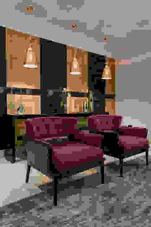 Detalhe sala de estar Salas de estar ecléticas por Helen Granzote Arquitetura e Interiores Eclético