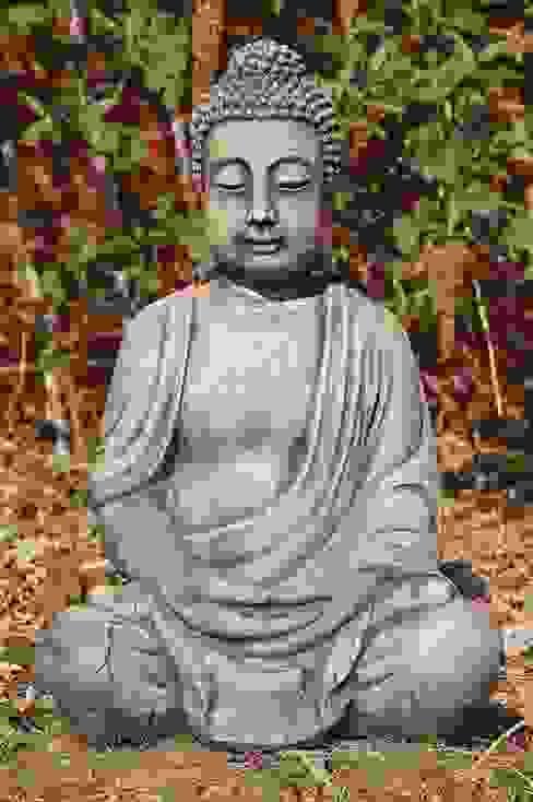 Sitzender Buddha, meditiert Steinfiguren Horn GartenAccessoires und Dekoration