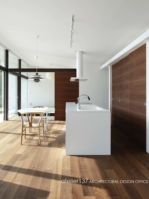 Cocinas de estilo  por atelier137 ARCHITECTURAL DESIGN OFFICE, Moderno Tablero DM