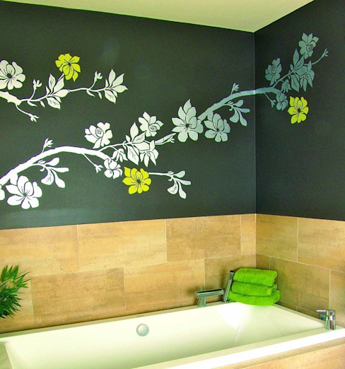 Rama de flores Baños de estilo moderno de Murales Divinos Moderno