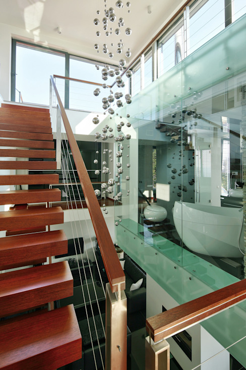 Modern Corridor, Hallway and Staircase by RS+ Robert Skitek Modern