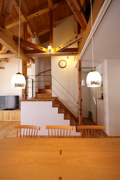 階段: 加藤一高建築設計事務所が手掛けたリビングです。,和風