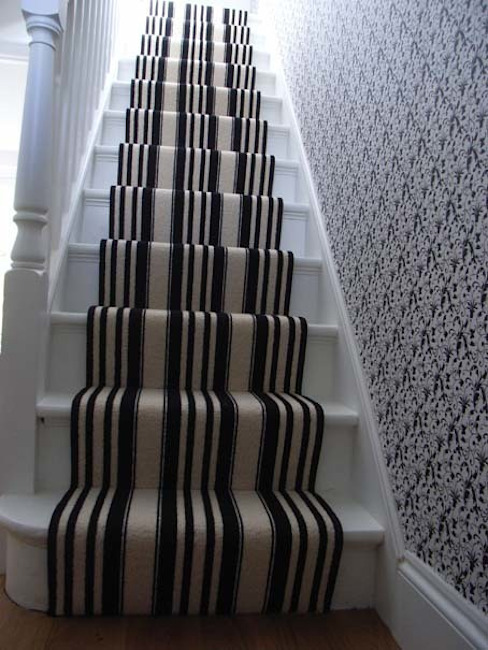 Contemporary striped stair carpet Classic style corridor, hallway and stairs by Style Within Classic