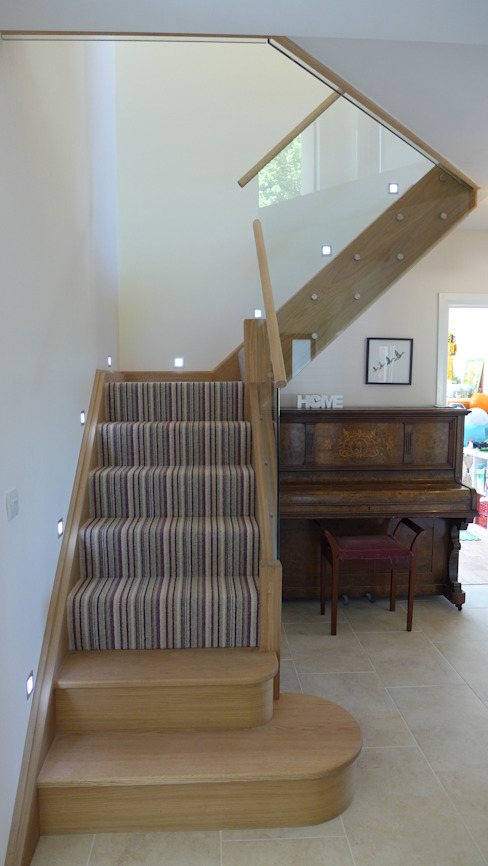 oak staircase Modern Corridor, Hallway and Staircase by Style Within Modern