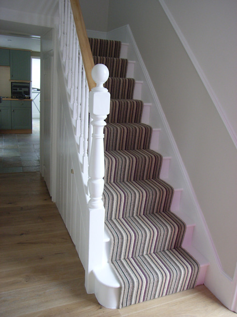 modern stair carpet runner in Victorian property Modern corridor, hallway & stairs by Style Within Modern