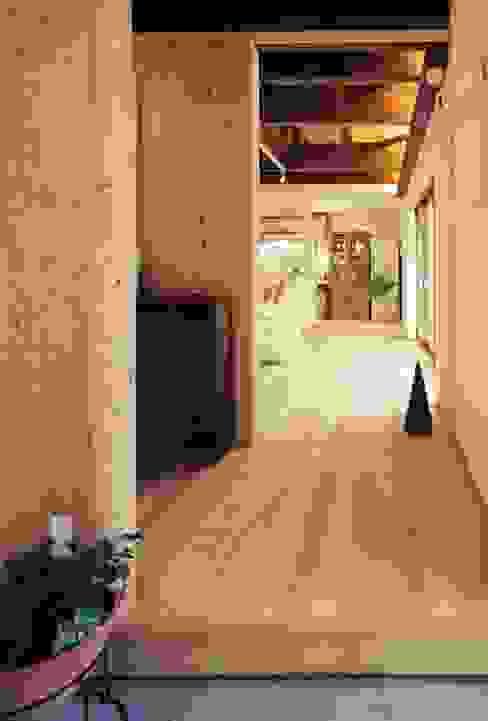 玄関から居間を望む モダンな 壁&床 の 小栗建築設計室 モダン 木 木目調