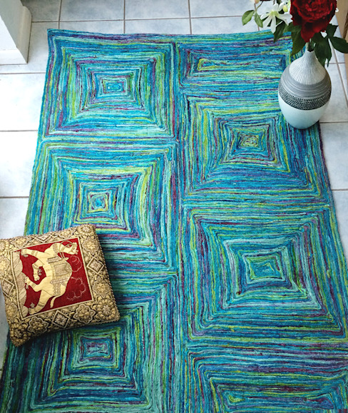 RECYCLED SARI SILK VIBRANT SQUARES RUG Green Decore Living roomAccessories & decoration Synthetic Multicolored