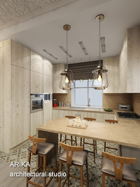 AR-KA architectural studio Industrial style kitchen