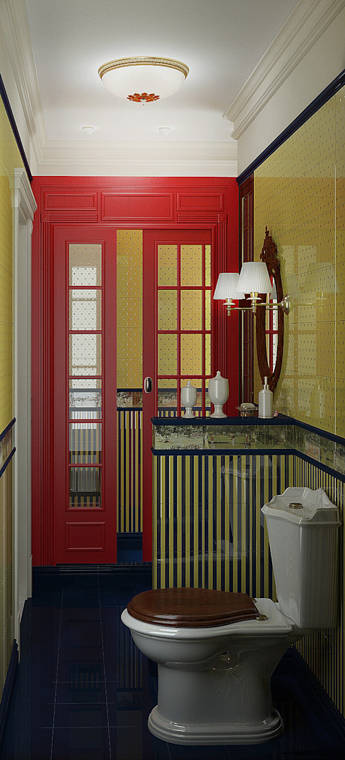 homify Classic style bathroom Tiles Red