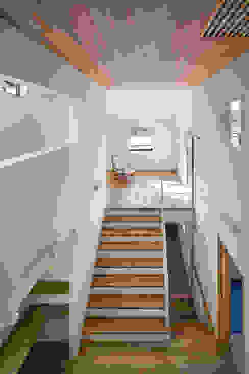 家族をつなぐスキップフロアの家-吹抜け空間- モダンスタイルの 玄関&廊下&階段 の 小田達郎建築設計室 モダン
