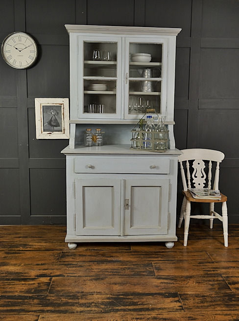 Shabby Chic Pastel Blue & Grey Antique Pine Kitchen Dresser: rustic  by The Treasure Trove Shabby Chic & Vintage Furniture, Rustic Solid Wood Multicolored