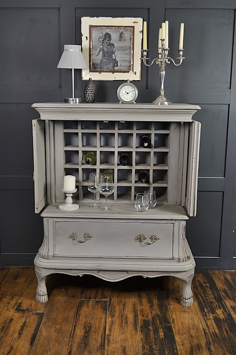 Paris Grey Shabby Chic French Drinks Cabinet de The Treasure Trove Shabby Chic & Vintage Furniture Clásico Madera maciza Multicolor