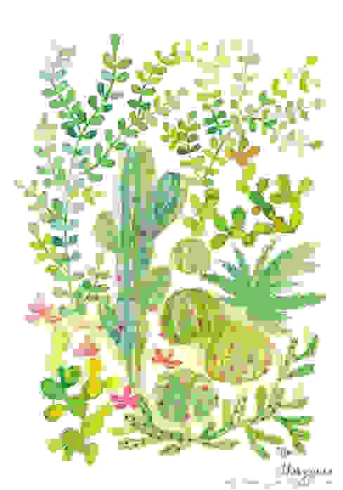 Mes cactus aquarellés Salon original par Thévy Guex Éclectique