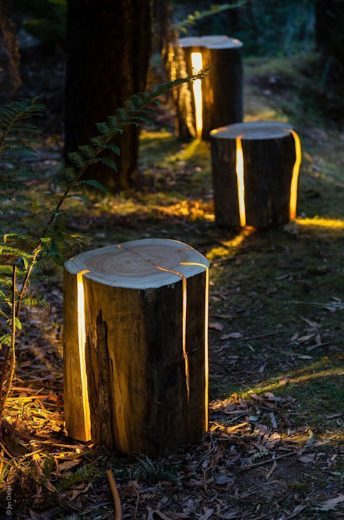 Cracked Log Lamps Duncan Meerding Garden Lighting