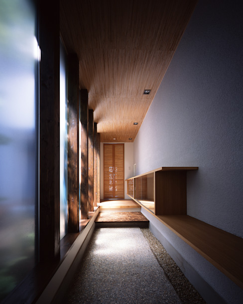 Eclectic corridor, hallway & stairs by 飯塚建築工房 Eclectic