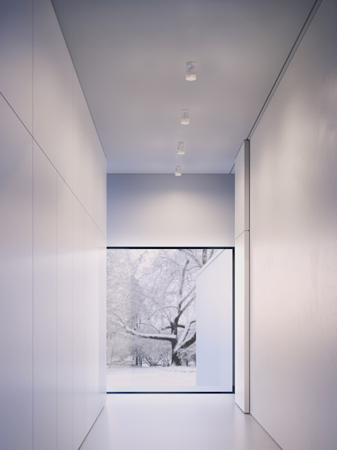 Solid Downlights in Carrara marble 모던스타일 복도, 현관 & 계단 by Terence Woodgate 모던