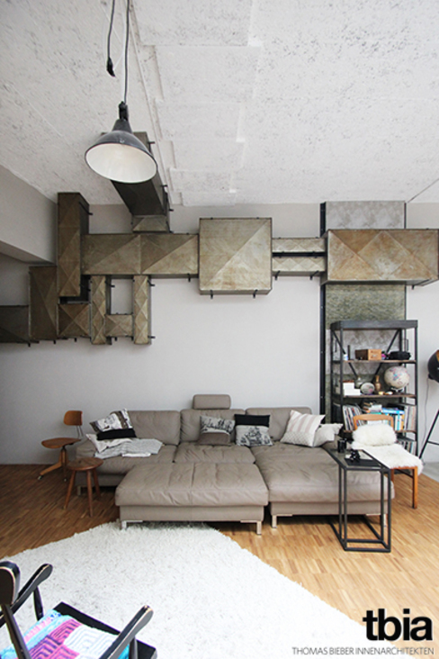 Industriële woonkamers van tbia - Thomas Bieber InnenArchitekten Industrieel