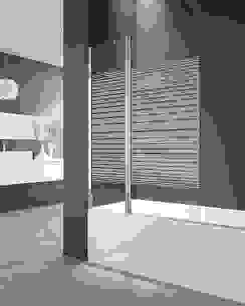 Panel de bañera Open 2 fijo + abatible Trazos de MAMPARASYMAS ONLINE, SLU Minimalista Vidrio