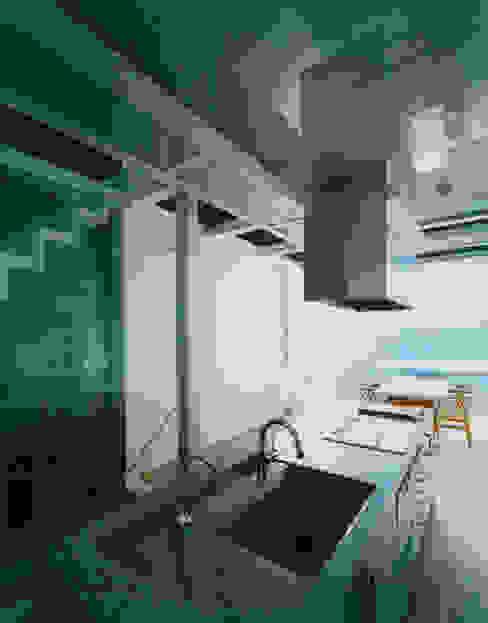 キッチンからリビングダイニングを見る モダンな キッチン の 原 空間工作所 HARA Urban Space Factory モダン