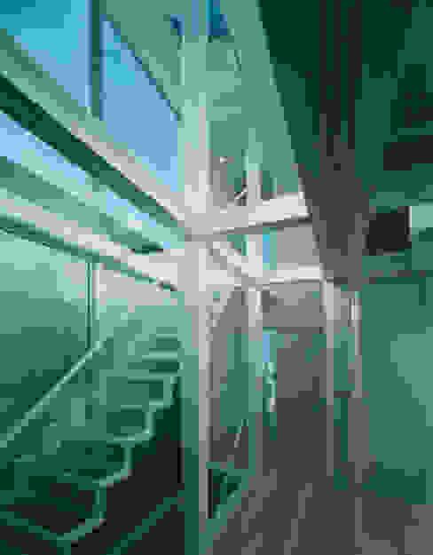ガラス階段 モダンスタイルの 玄関&廊下&階段 の 原 空間工作所 HARA Urban Space Factory モダン ガラス