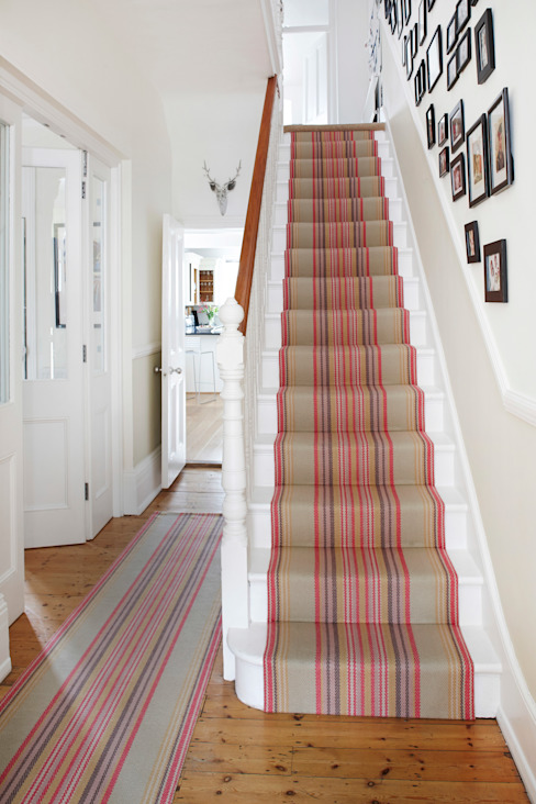 Roger Oates Chatham Mallow stair runner Modern corridor, hallway & stairs by Roger Oates Design Modern