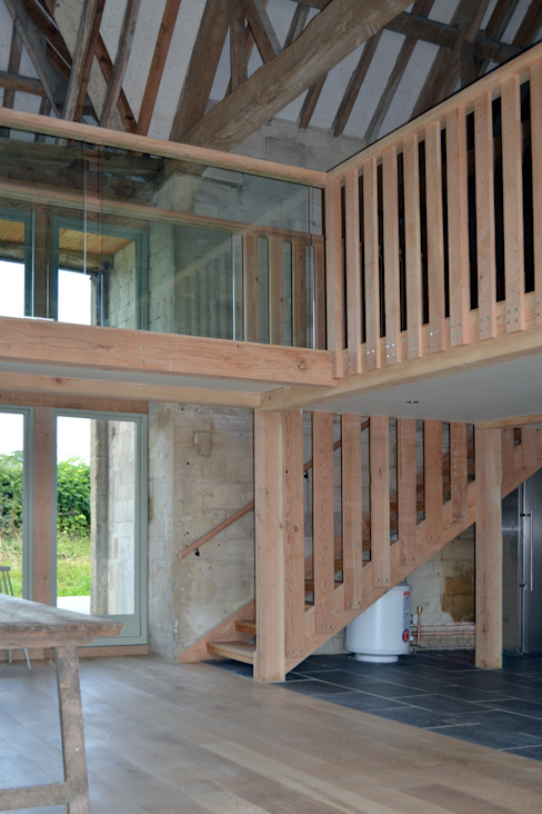 Timber and glass mezzanine Country style corridor, hallway& stairs by Hetreed Ross Architects Country